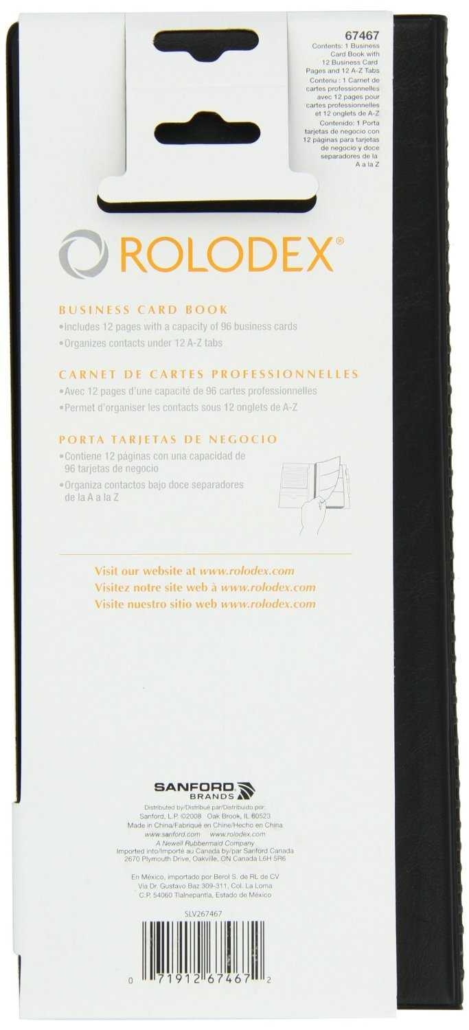 Amazon.com : Rolodex Vinyl Business Card Book with A-Z Tabs, Holds ...