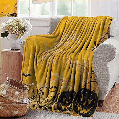 XavieraDoherty Cool Blanket,Halloween,Carved Pumpkins with Floral Patterns Bats