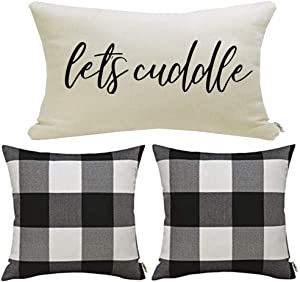 Meekio Set of 3 Black and White Buffalo Check Pillow Covers 18 x 18 Inch with Let's Cuddle Quote Retangle Pillow Covers Farmhouse Décor Housewarming Gifts for New Home