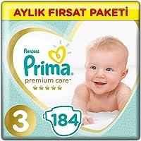 Prima Bebek Bezi Premium Care 3 Beden Midi Aylık Fırsat Paketi, 184 Adet