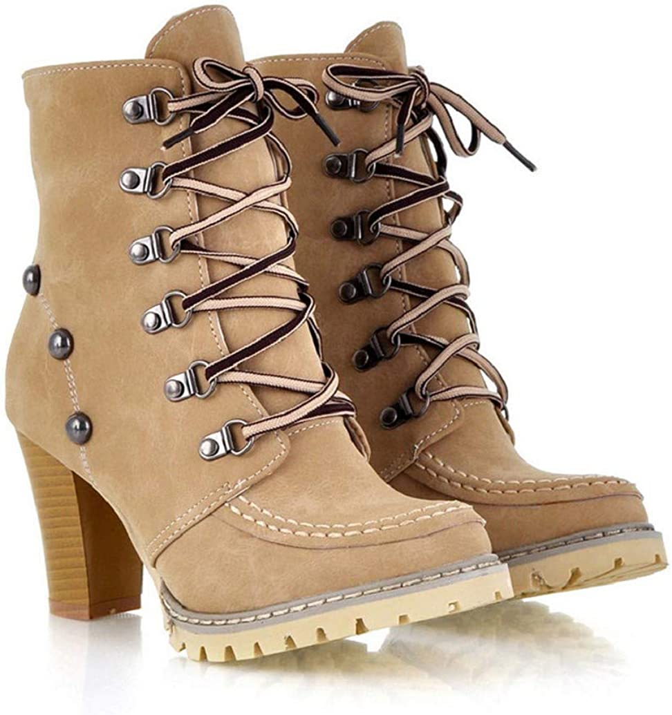 Womens Mid Calf Boots Lace Up High Heel Ankle Boots Rivets Shoes Non-Slip Warm Short Tube Boots by Nevera