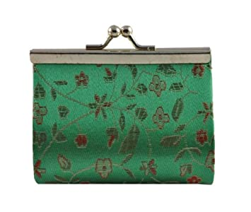 Amazon.com: Verde chino brocado de seda cartera/cartera ...
