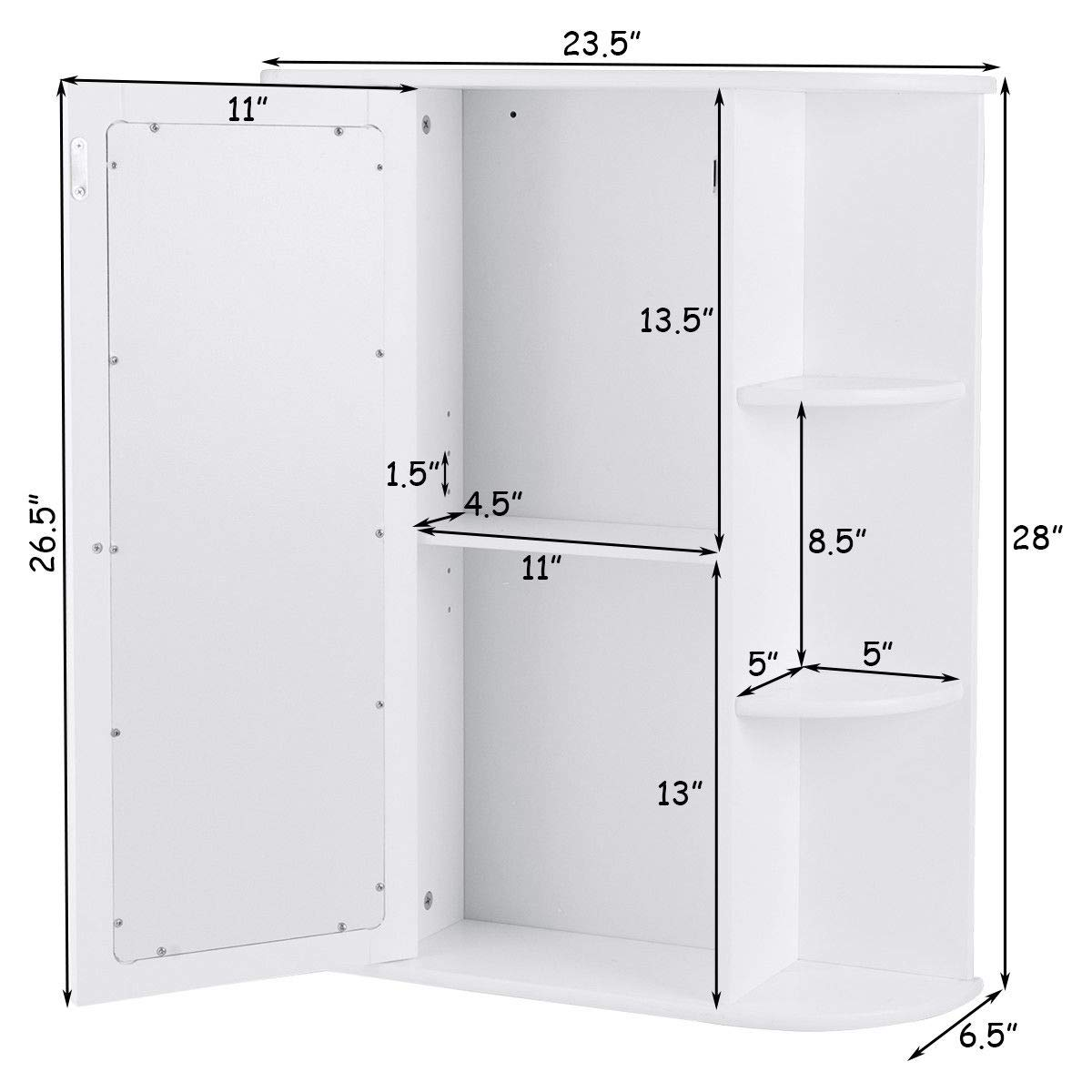 TANGKULA Bathroom Cabinet Single Door Wall Mount with Mirror Organizer Storage Cabinet(2 Tier Inner Shelves) by TANGKULA (Image #3)
