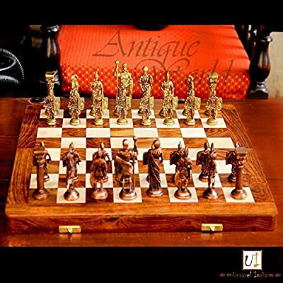 """Antiques World Brass & Wood Unique Home Decor Art Collectible Chess Set With Roman Figures And Hand Made Wooden Chess Board 14""""X14"""" Folding AWUSACB 05"""