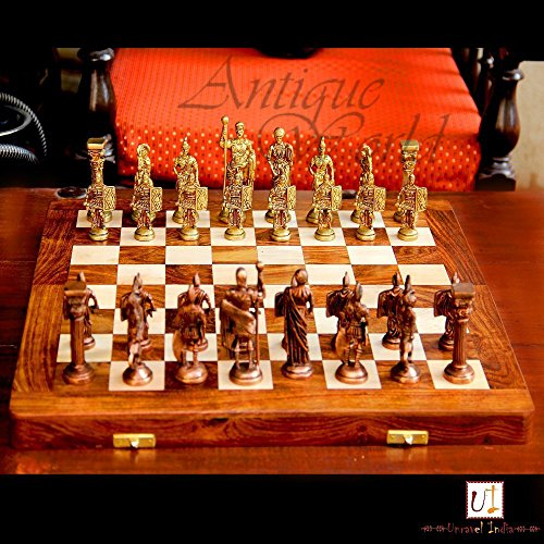 Antiques World Brass & Wood Unique Home Decor Art Collectible Chess Set With Roman Figures And Hand Made Wooden Chess Board...