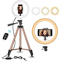 """10 inch Selfie Ring Light with 50"""" Extendable Tripod Stand & Flexible Phone Holder for Live Stream/Makeup, Mini Desktop Led Camera Ringlight for YouTube Video, Compatible with iPhone/Android"""