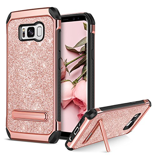 BENTOBEN Compatible with Phone Case Samsung Galaxy S8 Plus, Glitter Shockproof Dust Free Full Body Girly Women Gift Phone Accessories with Kickstand for S8 Plus, Rose Gold
