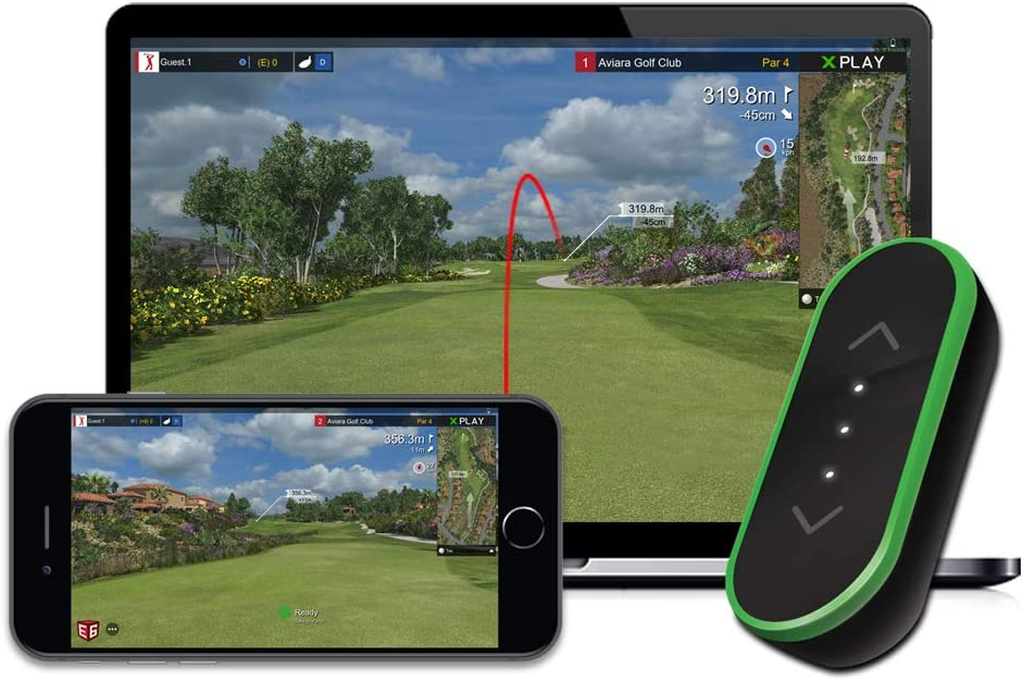 tittle X Home Golf Simulator 2021 E6 Connect Edition - Indoor Real Golf Game Experience with Smart Micro Sensor Swing Analyzer (Compatible with iOS and PC)