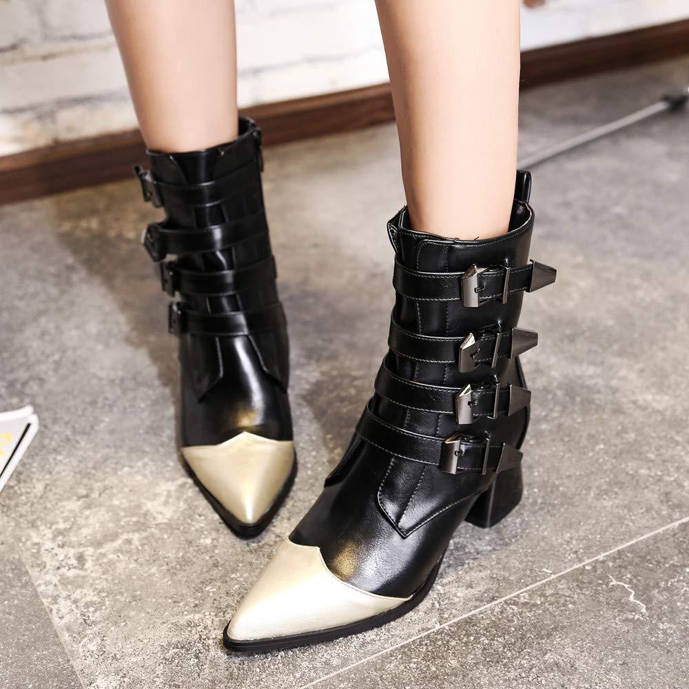 ZHRUI Hausschuhe Damen Damen Damen Damen Hausschuhe Stiefel, Mode Leder Gürtelschnalle Starke Ferse Schuhe Spitz Martin Stiefel, (Farbe   Schwarz, Größe   5 UK)  02c29c