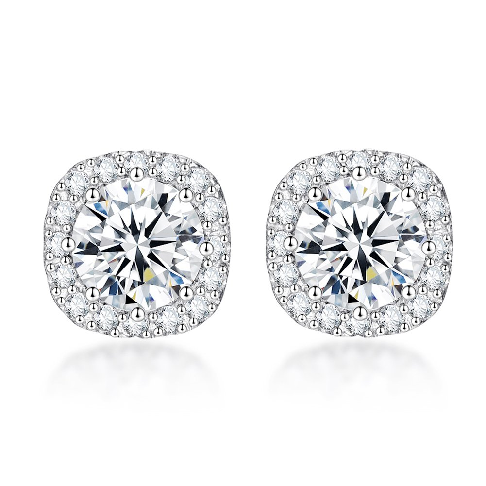 9b1e6d4a6 Amazon.com: SENCLE S925 Sterling Silver with 18K White Gold Plated Square Cubic  Zirconia Halo Stud Earrings for Women: Jewelry