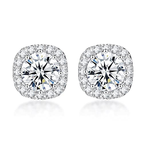 557bb722b SENCLE S925 Sterling Silver with 18K White Gold Plated Square Cubic Zirconia  Halo Stud Earrings for