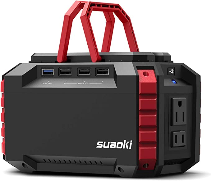 SUAOKI Generador Solar Portátil 150Wh(3.7V 40500mAh), Generador de camping, fuente de alimentación de Litio (Carga QC3.0, 220V Salida AC, 4*USB, ...