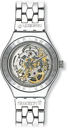 – Automático Reloj Analógico Yas100g Para Hombre Swatch Correa Inoxidable Acero De Con Yb76mvIgfy