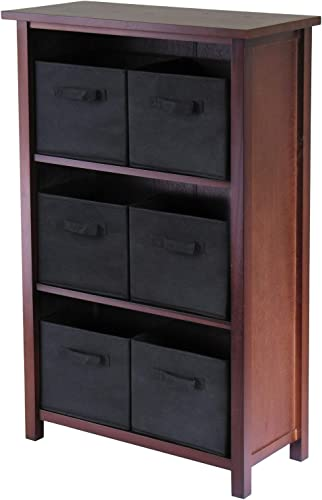 Winsome Wood Verona Wood 4 Tier Open Cabinet with 6 Black Folding Fabric Baskets