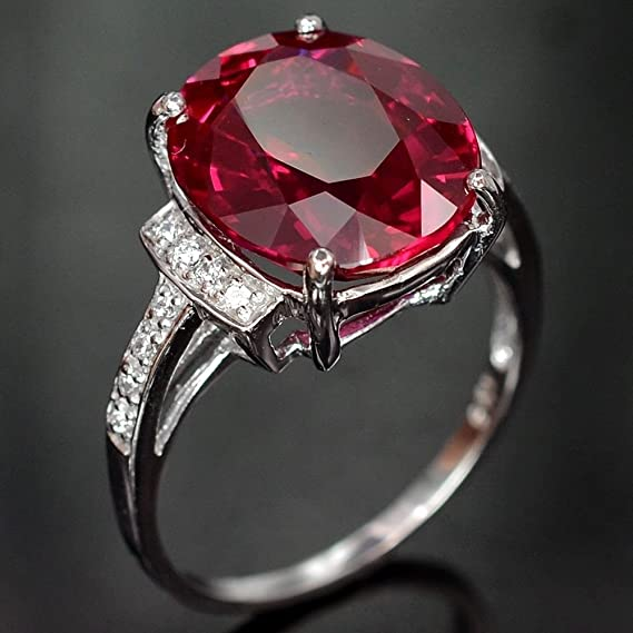 Amazon.com: Wassana Women Fashion 925 Sterling Silver Red Ruby Gemstone Wedding Ring Jewelry Sz 6-10 (6): Home & Kitchen