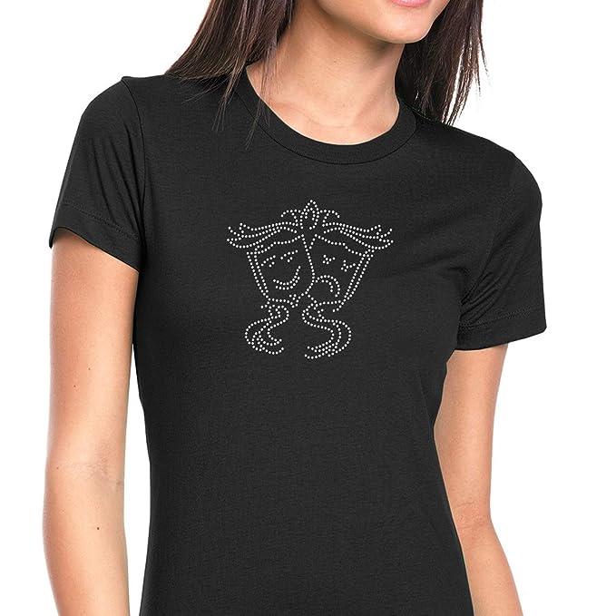 Personalized Rhinestone Gem Bling Womens Tshirt Tee V-Neck Custom Three Lines