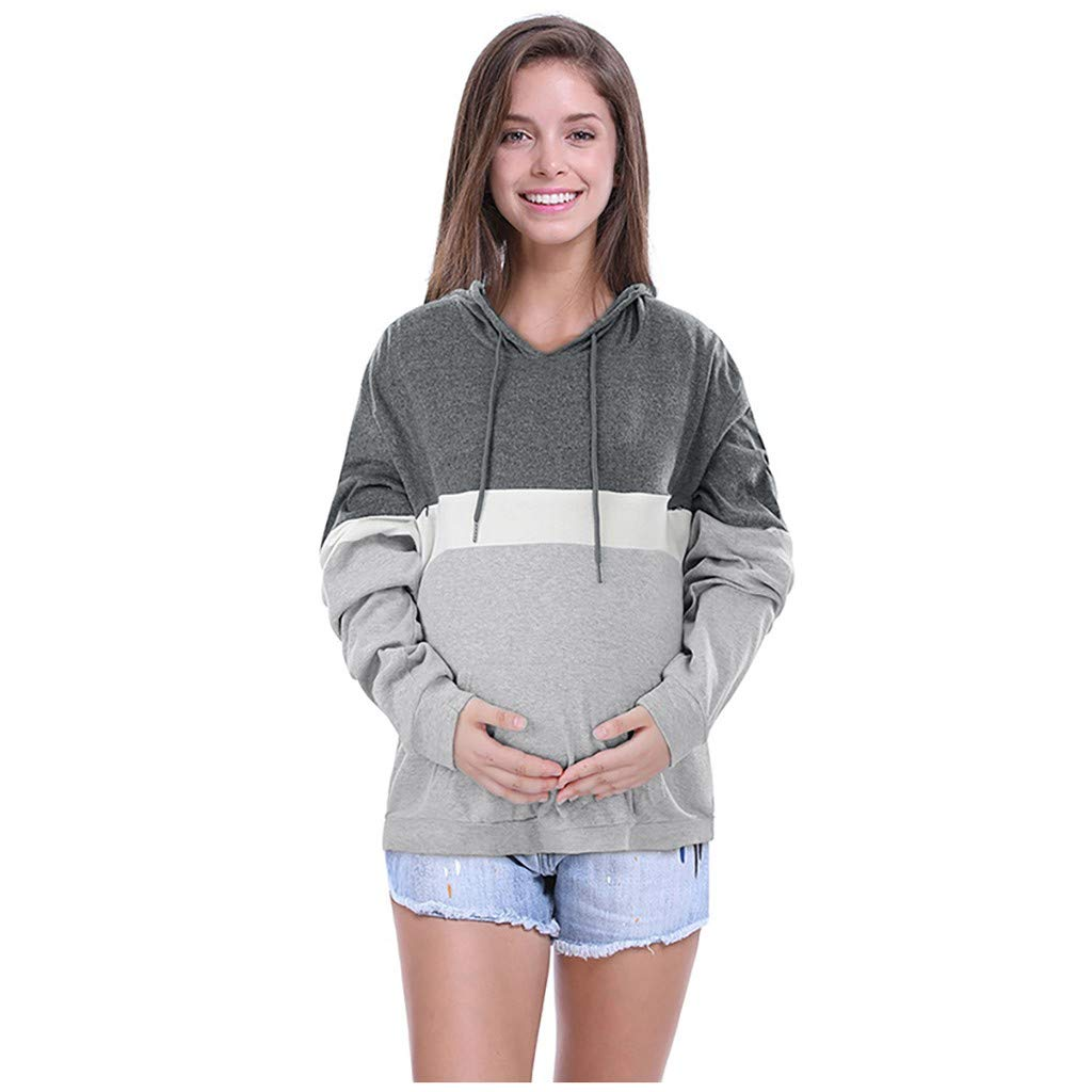 Womens Colorblock Hoodie Shirt with Pocket Patchwork Long Sleeve Blouses Sweatshirts Baggy O Neck Tops Pullover