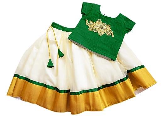 a231e3df7cbf38 Stanwells kids Baby Girl's Silk Golden Green Combo Silk Kerala Lehenga  (Ag008b_14, Light Gold