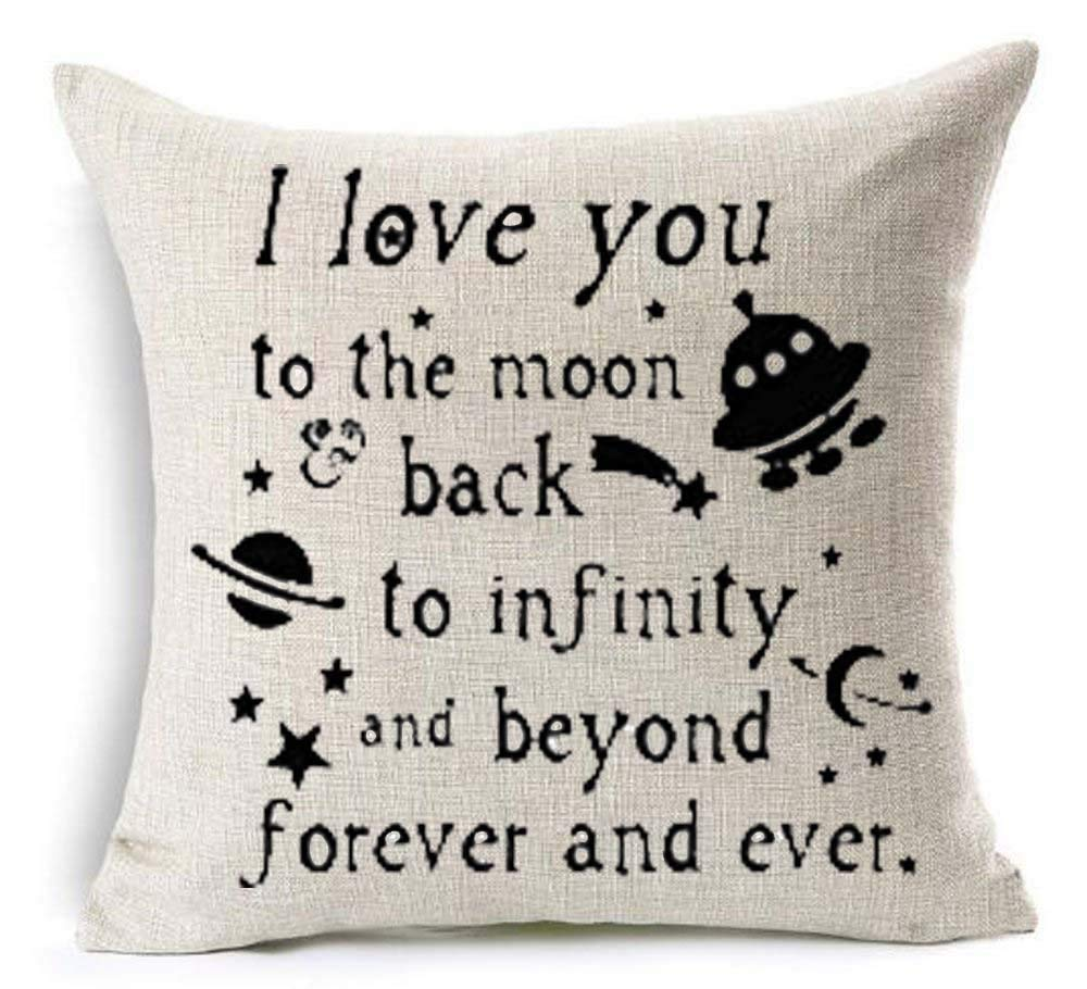 Zhi Fan I Love You to The Moon Back to Infinity and Beyond Forever and Ever Spacecraft Outer Space Star Decoration Cotton Linen Decorative Throw Pillow Case Cushion Cover Square 18'X18'
