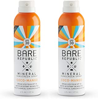 product image for Bare Republic Mineral SPF 30 Sport Sunscreen Spray. Coconut-Mango Sheer and Strong Water-Resistant Sunscreen Spray with SPF 30 (6 Ounces) 2 Pack.