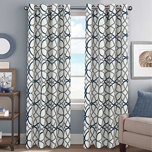Elegant Natural Feeling Curtains Thermal Insulated Blackout Drape Home Décor Beautiful Window Treatment for Kid's Room- 52 inch Width by 96 inch Length- Set of 2 Panels- Grey and Navy Geo Pattern - Black Natural Curtain