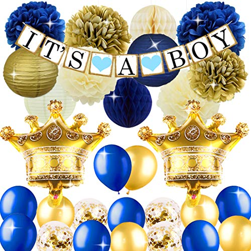 (KREATWOW Royal Prince Baby Shower Decorations for Boy Crown Mylar Balloons It's A Boy Banner for Royal Blue Baby Shower 1st Birthday Decorations)