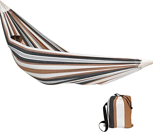 Sunnydaze Brazilian Double Hammock with Carry Bag, Outdoor Use, Extra Large 450-Pound Weight Capacity, Calming Desert