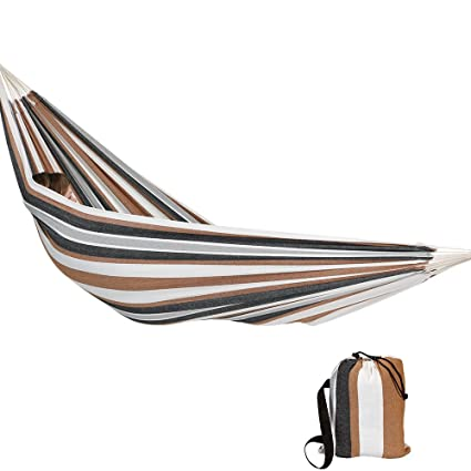 Sunnydaze Extra Large Brazilian Double Hammock with Carry Bag for Indoor Or Outdoor Use, Weight Capacity: 450 pounds, Calming Desert