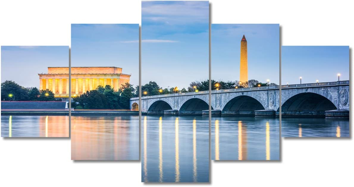 Native American Decor Capital Cityscape Pictures for Living Room Painting on Canvas 5 Piece Wall Art Modern Tourist Attraction Artwork Home Decor Framed Gallery Wrapped Ready to Hang(60