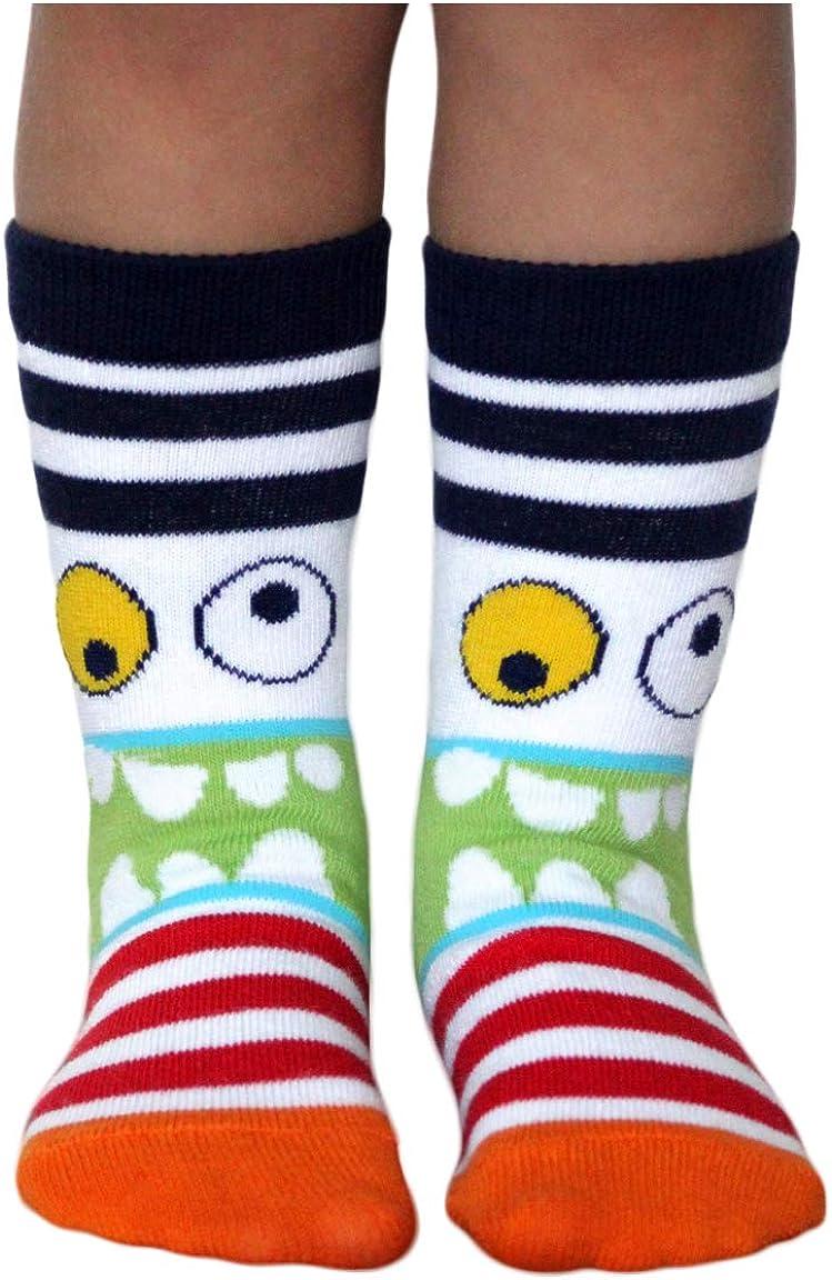 Jefferies Socks Boys\' Little Monster Pattern Crew Socks 6 Pair Pack