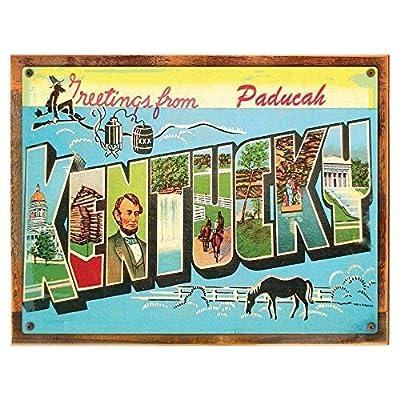 chengdar732 Kentucky Metal Sign, Vintage Travel Postcard Highlighting Traditional America, on reclaimed, rustic Aluminum