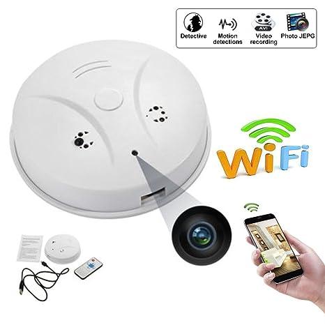 Cathy02Marshall WiFi Cámara Oculta Cámara espía Detector Humo DareTang HD 1080P de Movimiento Activada Mini grabadora