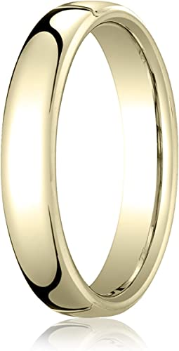 Mens 14K White Gold 4mm Flat Traditional Wedding Band Ring