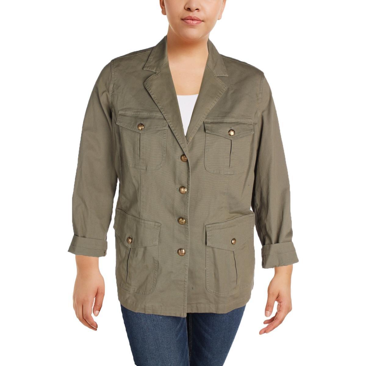 Lauren Ralph Lauren Womens Plus Braylin Long Sleeves Military Jacket Green 16W