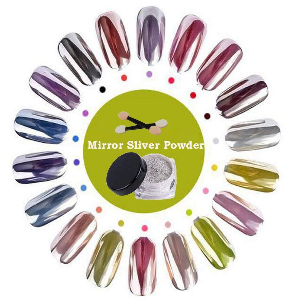 abe7f529c6 YUXUAN Sliver Nail Powder Mirror Nail Pigment Nail Art Chrome Powder 2g