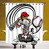 Decorative Shower Curtain 3.0 by SCOCICI [ Teen Room Decor,Baseball Cartoon Player Hitting the Ball Boys Kids Caricature Print,Grey Red White ] Digital Print Polyester Fabric Bathroom Set