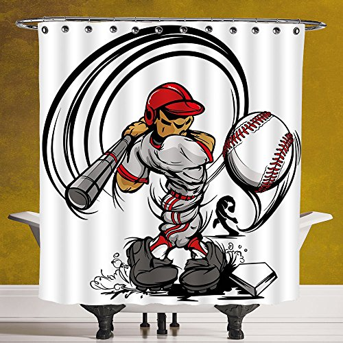Decorative Shower Curtain 3.0 by SCOCICI [ Teen Room Decor,Baseball Cartoon Player Hitting the Ball Boys Kids Caricature Print,Grey Red White ] Digital Print Polyester Fabric Bathroom Set by SCOCICI