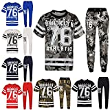 Boys Top Kids Designer Brooklyn 76 Camouflage T Shirt Tops & Trouser Set 5-13 Yr