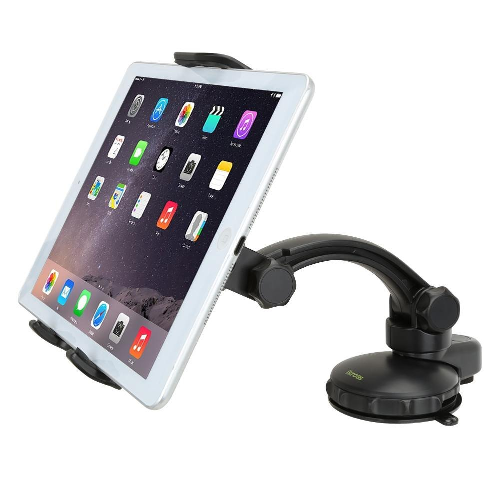 Tablet Dashboard Mount - iKross Car Windshield Surface Mount Holder Kit with Strong Gel Pad Suction - Black for SUV, Truck, Van, Uber, Lyft Driver Navigation Maps
