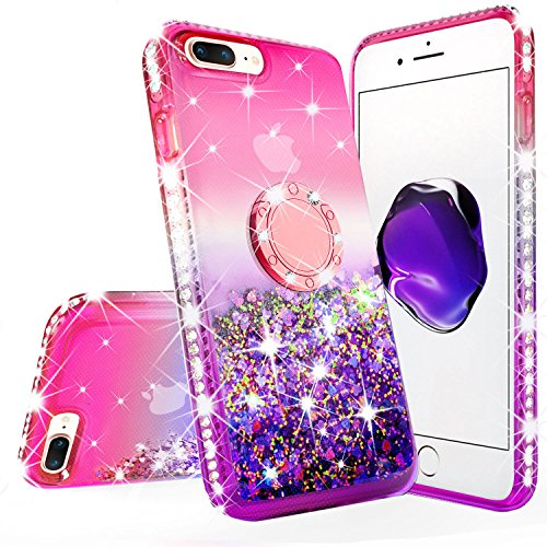 New iPod Touch Case,iPod Touch 5th/6th Generation Case Tempered Glass Screen Protector Liquid Glitter Quicksand Bling Sparkle Diamond Ring Stand Cases Compatible for Apple iPod Touch 5/6/7,Pink/Purple (Sparkly Ipod 5 Cases)