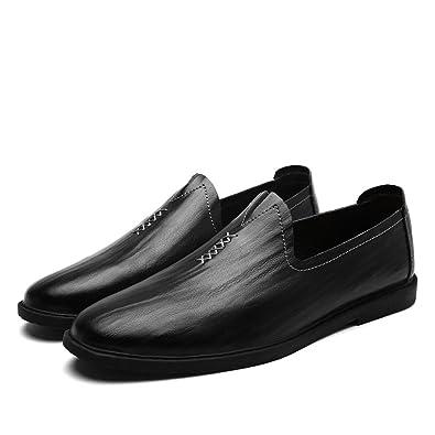 DHFUD Casual Chaussures Paresseux Chaussures pour Hommes,Black-38