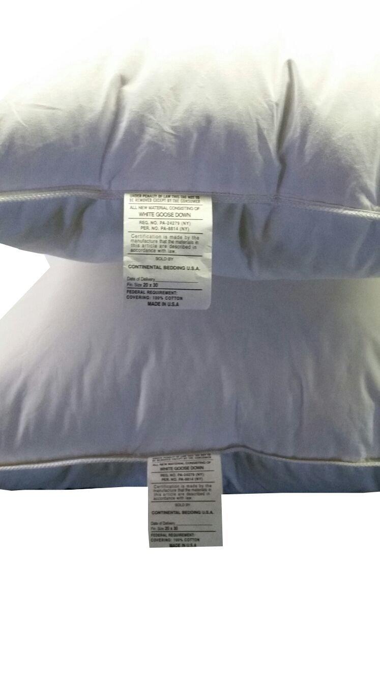Premium 100% White Goose Down Hotel Pillow, Set of 2 (King)