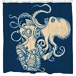 Sharp Shirter Octopus Shower Curtain Steampunk Nautical Decor Pirate Bathroom Theme Gold Kraken Waterproof Fabric 72x72 6