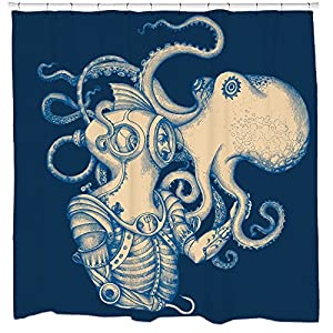 Sharp Shirter Octopus Shower Curtain Set Nautical Bathroom Decor Kraken and Scuba Diver Gold Tentacles Blue Polyester Fabric Hooks Included
