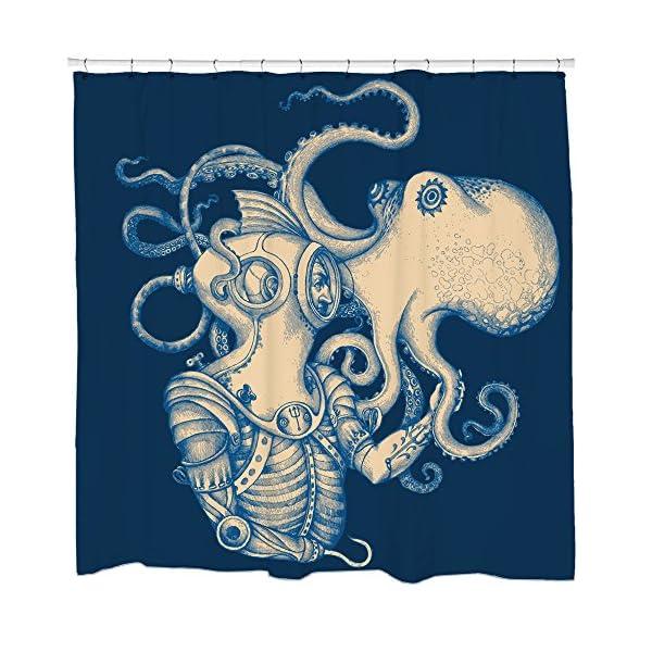 Sharp Shirter Octopus Shower Curtain Steampunk Nautical Decor Pirate Bathroom Theme Gold Kraken Waterproof Fabric 72x72 3
