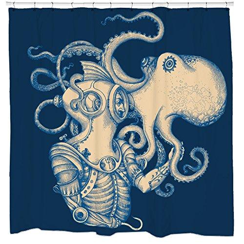 Sharp Shirter Octopus Shower Curtain Steampunk Nautical Decor Pirate Bathroom Theme Gold Kraken Waterproof Fabric 72×72