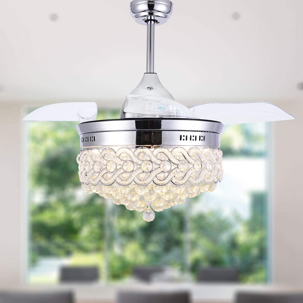 Bella Depot Modern Ceiling Fan Dimmable Chandelier Ceiling Fans with lights – Crystal ceiling fan with Retractable blades, Remote Control, Chrome Finish, 2 Down-rods Included