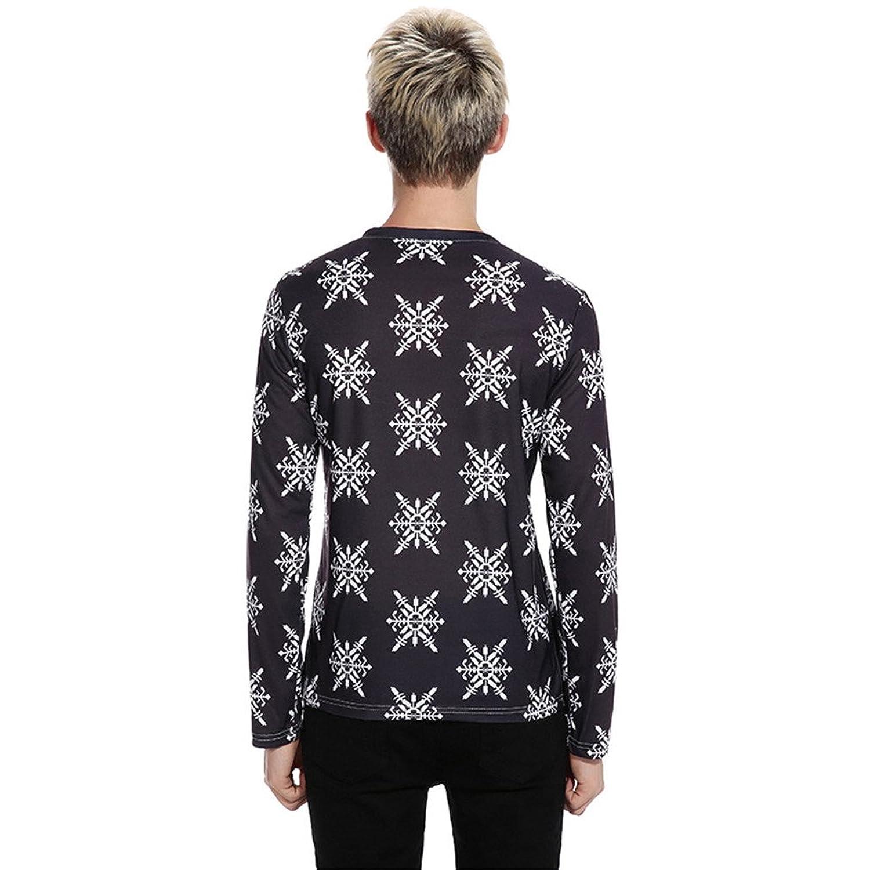 Amazon.com: Bonxddy 3D Christmas T Shirt Men Funny Print Men T Shirts Long Sleeve Slim Fit V Neck Male T-Shirt Casual Harajuku Hip Hop Tops Tee: Clothing