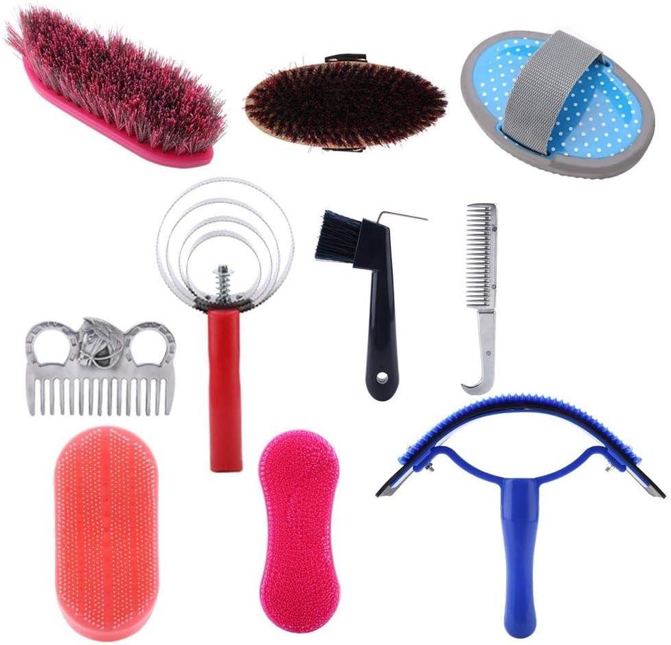 Rockyin Kit 10pcs Caballo y estética Cuidado Equestrain Cepillo Curry Comb Caballo del Sistema de Herramienta de Limpieza