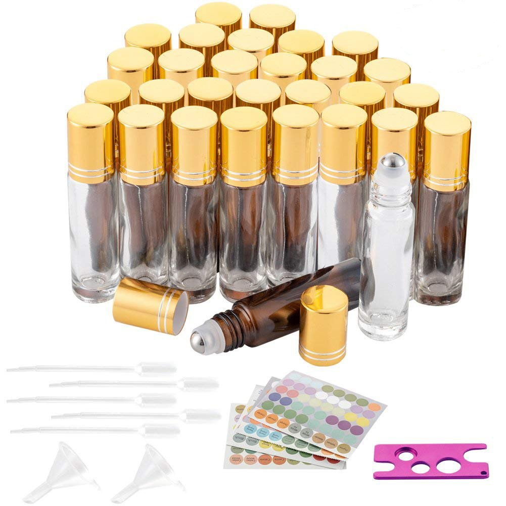 30Pcs Glass Roller Bottles, 10ml Amber Glass Essential Oil Bottles with Stainless Steel Roller Balls for Essential Oil, Perfume Oils with 4 Droppers, 2 Funnels, 1 Opener and 1 Sheet Label Stickers